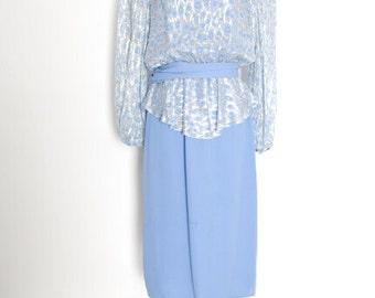 vintage 80s dress periwinkle blue metallic peplum long sleeve midi dress 1980s 80s clothing M
