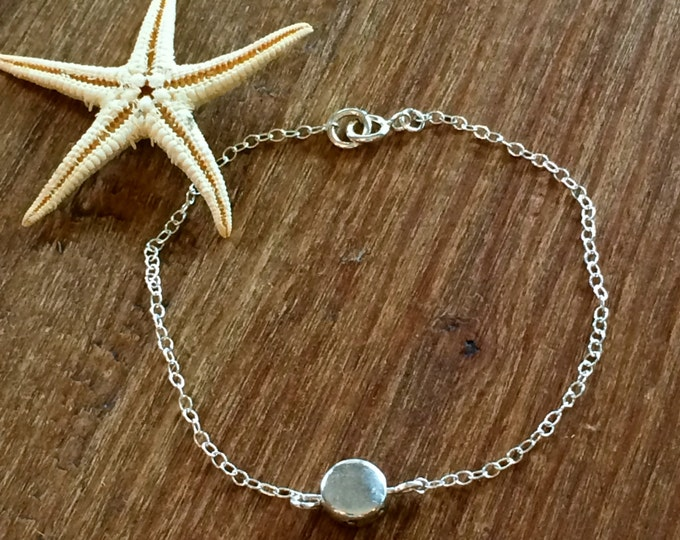 Sterling Silver Bracelet Silver Circle Disc Bracelet Silver Chain Minimalist Bridal Gift for Her Bridesmaid Delicate Anklet Layering Boho
