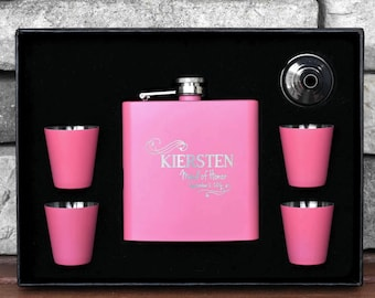 Personalized Bridesmaids Flask, 3 Pink Flask Sets, Bridesmaids Gift, Wedding flask, Engraved Gift, Etched Flask, Engraved Name Flask