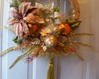 SaLe~Gilded Pear Winter Poinsettia OOAK Wreath- Free Ship