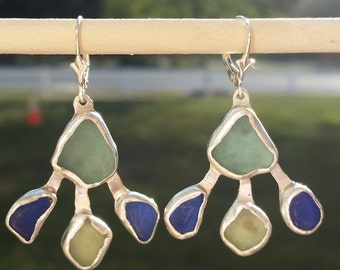 Sea Glass Earrings, Blue Aqua Sea Glass Earrings , Sea Glass Jewelry , Sterling Silver and Cobalt Blue Sea Glass Earrings, Handmade Jewelry
