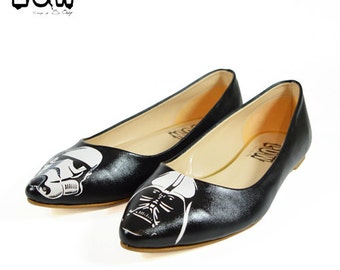 DARK SIDE - Star Wars shoes, pointed toe flats, handmade,  Darth Vader, Stormtrooper custom design shoes
