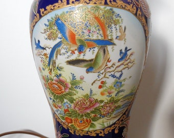Extra large Oriental lamp, Polychrome, porcelain, wooden base, Chinese, hand painted, blue, bird design, Chinoiserie