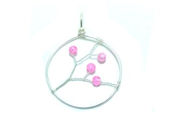 FREE SHIPPING A blooming branch wire pendant: Pink
