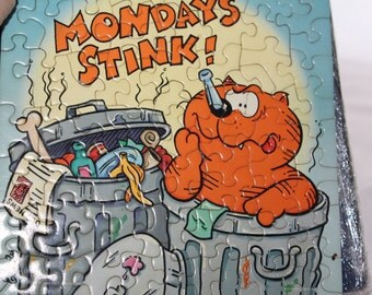 Heathcliff -- Monday Stinks -- Mini Springbok Jigsaw Puzzle -- George Gately --Hallmark, Springbok, Cat --  1985