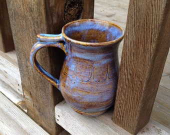 Curvy Blue and Brown Coffee Mug with Thumb Rest