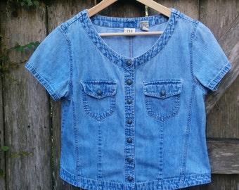 """Gap Jean Shirt/Snap Jean Shirt/Chambray Denim Shirt/Vintage Jean Shirt/Size M/19""""Chest/20""""Long/*FREE GIFT Wrap*"""