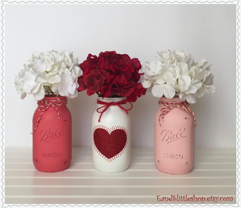 Mason Jar Party Decorations: Mason Jar Centerpiece Set-Wedding Decor-Valentines Day
