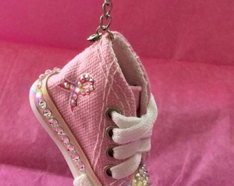 Bling Pink Breast Cancer Awareness Mini Sneaker Key Chain - Sport your Supoprt - Swarovski Backpack Bling Car Decor - Pink BCA Accessory