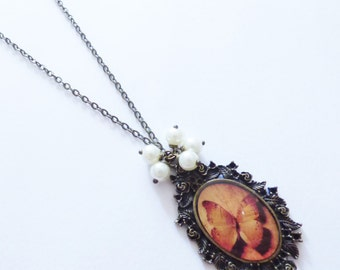 Butterfly Cameo Necklace CO064