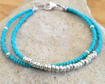 Blue and silver double strand bracelet, Czech glass seed bead bracelet, boho bracelet, yoga bracelet, gift for her, small bracelet