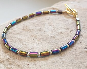 Multicolored bracelet, hematite bracelet, gold bracelet, boho style bracelet, gift for her, unique bracelet, minimalist bracelet