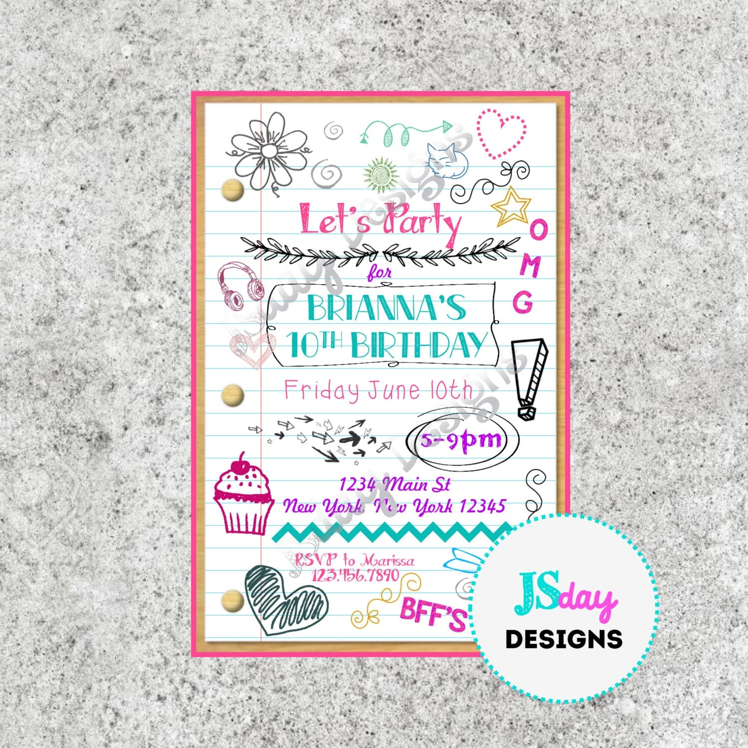 Tween Teen Birthday Invitation Tween Birthday Teen Birthday