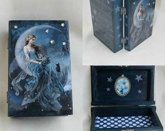 Wooden Jewelry Box, Blue fairy, fantasy box book, little girl jewelry box, fantasy fairy gift for girl, gift for niece, granddaughter gift