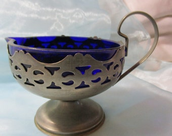 Vintage Cobalt Blue Silver Plate Sauce Server, Gravy Boat, Glassware