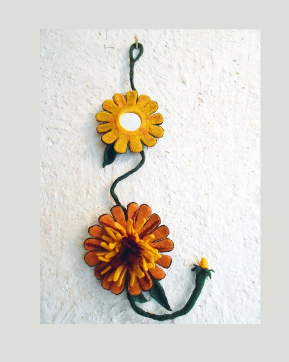 Felt Flowers Wall Decor : Felt home decor felted sunflower decoration handmade