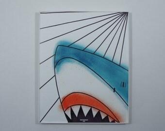 Shark Art Print; Modern Art Print // Bold Colors // Spray Paint Art // Pop Art // Graphic Art // Minimalist Art