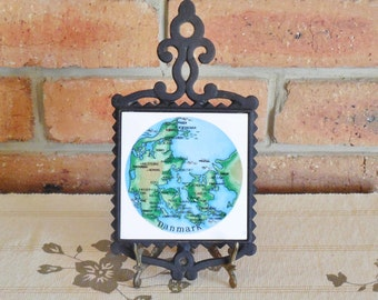 Cast iron trivet featuring map of Denmark 'Danmark', FM Japan, 1970s kitchenalia, souvenirware