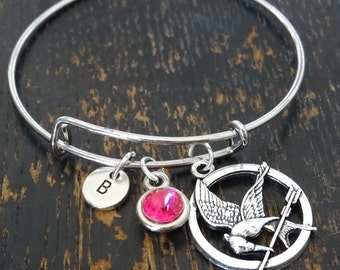 Hunger Games Bangle Bracelet, Adjustable Expandable Bangle Bracelet, Hunger Games Charm, Hunger Games Pendant, Hunger Games Jewelry, Archery