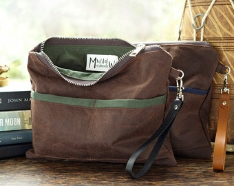 Gifts For Him, Travel Pouch, Waxed Canvas, Leather Wristlet Mens Bag, Womens Clutch, Toiletry Pouch, Brown Wallet, Birthday Gift, Husband