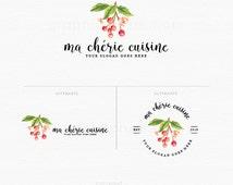 Food Logo - Food Blog Logo - Cherries Logo - Watercolor Cherries Logo- Branding Logo