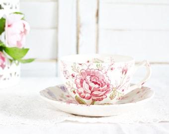 Johnson Brothers Rose Chintz Teacup & Saucer | Pink Teacup, Rose Teacup, Vintage Teacup, Tea Party Teacup, Pretty Teacup, English Teacup