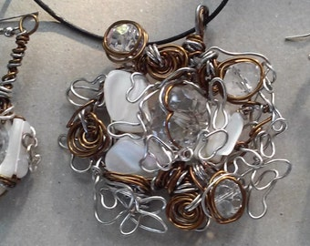 "Wire Jewelry Set, Handmade- Shell, Crystal, Silver, Bronze, Design, Pendant Necklace (L- 22"", Adjustable) /Earrings (2"")"
