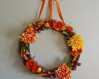 Autumn Wreath, Thanksgiving Wreath, Silk Floral Wreath, Fall Wreath