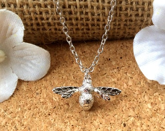 Honey bee necklace, charm necklace, bumble bee pendant