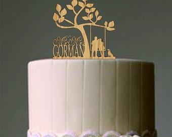 Rustic Wedding Cake Topper Unique Personalized Custom