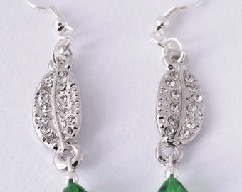 Silver and green Swarovski crystal rhinestone-encrusted sparkly feather earrings - FREE shipping