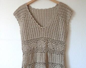 70s boho vintage style beige silver crochet top