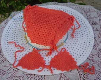 Crochet for baby girl bikini set, 3 pieces, fishing, unique piece, crochet, crochet bikini girl swimsuit made in Italy. OOAK Art. 53