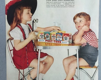 1959 Post Print Ad for Post-Tens Cereal - Alpha-Bits - Grape Nuts