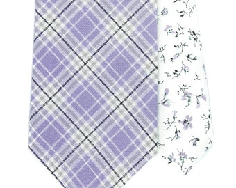 Lilac wedding necktie, Cotton lavender plaid men's skinny tie, Pastel wedding ties,groomsmen, groom, check floral grey white tie