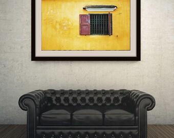 Window Photography, Travel Photo Print, Italy Window, Italy Decor, Yellow Ocre, Orange Red, Wall Art, Large Art, Fine Art Photography, Decor