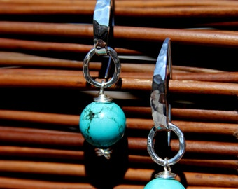 Turquoise & Sterling Silver Earrings - 6425-31