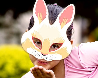 Rabbit Mask Printable Bunny Paper DIY Masks Animal White Childrens Party Costume Easter Halloween Birthday Decoration Carnival Adults Kids