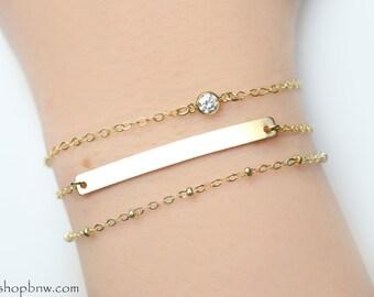 Tiny Diamond CZ Bracelet / Sterling Silver, Gold, Rose Gold / Delicate Bracelet / Layering Bracelet / bar bracelet