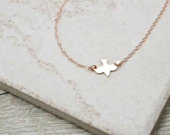 Dove Necklace / Sterling Silver, Gold, Rose Gold / Delicate Necklace / Layering Necklace