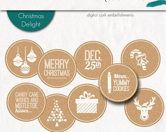 DIGITAL - Christmas Delight Cork Stickers (White)