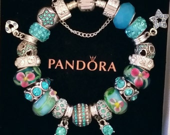Authentic Pandora Charm Bracelet 925 ALE Turquoise Blue Rhinestone European Style with Lampwork Murano Glass Beads Free Shipping