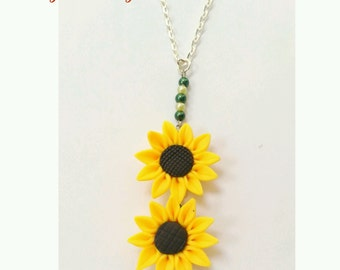 sunflower pendant necklace, sunflowers, sunflower necklace, sunflower jewelry, sun flower pendant, sun flower necklace, gift for her