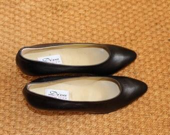 Vintage Black Court Shoes Leather Pumps Size UK4.5/EU37  80's Real Leather Black Pumps Court Shoes