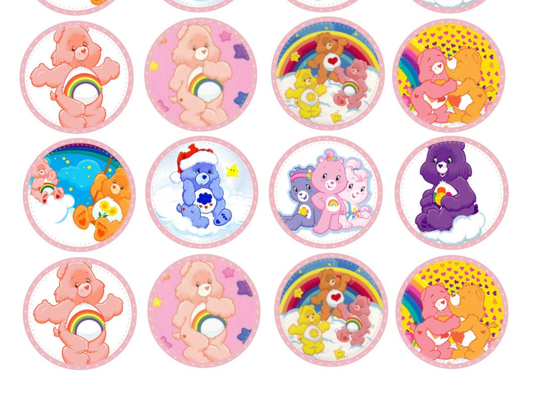 24 CARE BEARS edible round cupcake fairy cake toppers icing