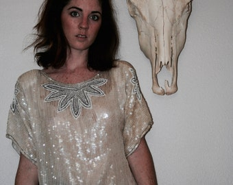 Vintage Sheer Sequin Beaded White Grey Party Blouse S Small M Medium L Large