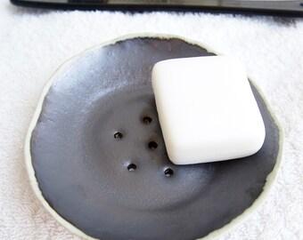 Handmade metallic black / white pottery soap dish, black and white pottery soap dish, ceramic soap holder, black bathroom decor, soap dish
