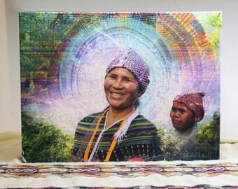 Hmong - Canvas Print, Visionary Art, Psychedelic Art Print, Digital Painting.