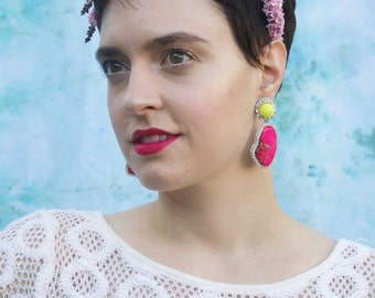 Vibrant Hot Pink and Neon Yellow Statement Earrings; Mismatched Statement Earrings; Neon Earrings; Neon Pink Stone Earring