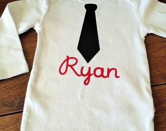 Personalized baby boy necktie bodysuit - long sleeves, short sleeves, custom bodysuit